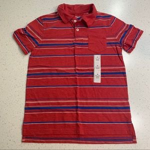 5/$20 Cat & Jack red blue striped polo